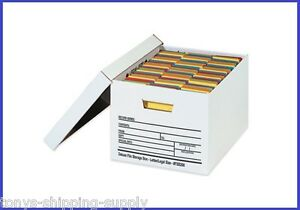 12 Pack Auto lock Corrugated File Storage Boxes W Lids 3 Sizes Available