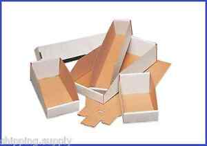 50 Pack White Corrugated Open Top Storage Bin Boxes 21 Sizes Available