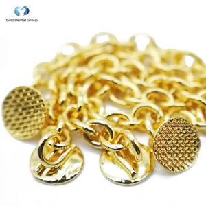 10 Pks Dental Orthodontic Golden Eruption Appliance With Round Traction Chain