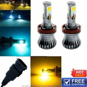 2x H11 H8 H9 Super Bright Cob Bulbs Ice Blue Yellow Switchback Led Fog Lights