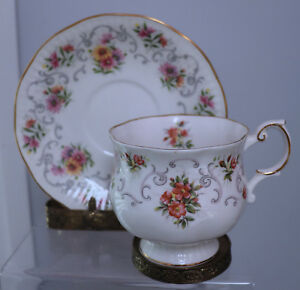 Vintage Queens Rosina Cup And Saucer England Victorian Flowers Bone China