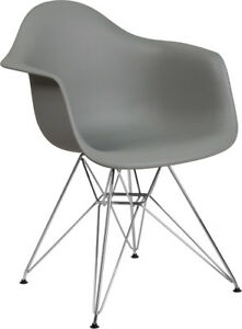 Gray Plastic Chair With Chrome Base Restaurant Furniture Banquet Accent