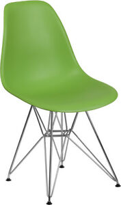 Elon Green Plastic Side Chair With Chrome Restaurant Furniture Banquet Accent