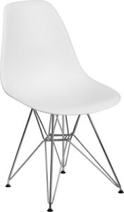 Elon White Plastic Side Chair With Chrome Restaurant Furniture Banquet Accent