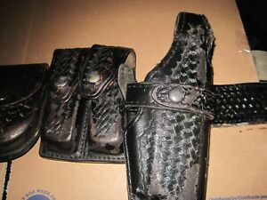 Police Duty Gun Leather Belt Security law With Extras Fits Glock Lot Aa500