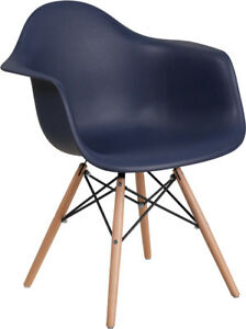 Navy Plastic Chair With Wood Base Restaurant Furniture Banquet Accent