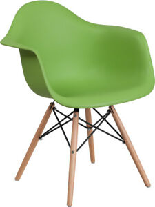Green Plastic Chair With Wood Base Restaurant Furniture Curved Arm Accent