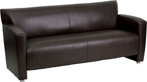 New Brown Bonded Leather Sofa Seating Lobby Room Furniture Office