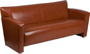 New Cognac Bonded Leather Sofa Seating Lobby Room Furniture Office Reception
