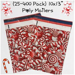 Free Shipping 25 400 Pack 10x13 Candy Cane Designer Poly Mailers