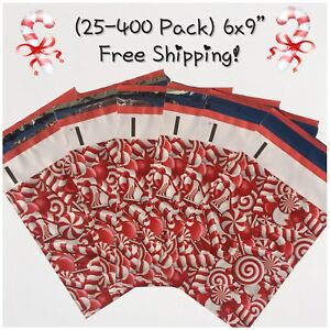 Free Shipping 25 400 Pack 6x9 Candy Cane Designer Poly Mailers