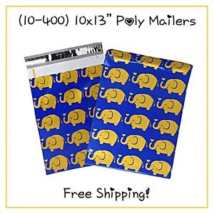 Free Shipping 25 400 Pack 10x13 Gold Elephants Designer Poly Mailers