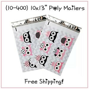25 400 Pack 10x13 Owls Designer Poly Mailers Free Shipping