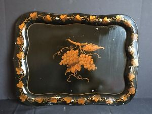 Antique Vintage Tole Painted Metal Tray Ruth Mills Peter Koster C 1948