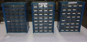 Lot Of 3 generic 32 drawer Blue Metal Storage Cabinets