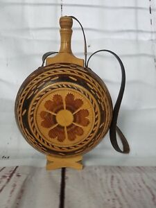 Rare Antique German Style Hand Carved Wooden Canteen W Built In Stand Heart A4