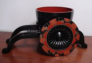 Japanese Oriental Plastic Lacquer Ware Cart W Bowl Planter Centerpiece Display