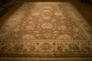 Brown Wool Carpet 10x14 Indian New Soft Agra Hand Knotted Rug