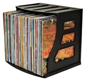 Vinyl Record Storage Crate Lp Album Box Holds Over 75 Lps Ring Binder Stand