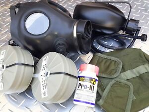 Isreali Idf Gas Mask Complete Nbc Setup W drink System canteen 2x Filters pro ki