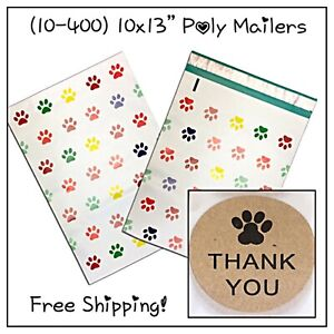 25 400 Pack 10x13 Puppy Paws Designer Poly Mailers free Shipping