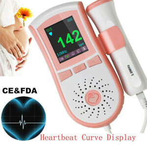 Usa 4 Function Fetal Doppler Baby Sound Color Monitor 3m Probe Safe Alarm Fhr Ce