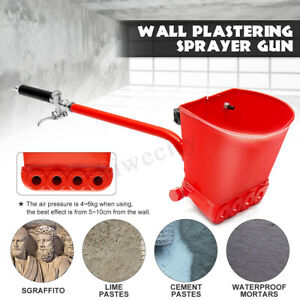 New Cement Mortar Sprayer Hopper 4 Jet Paint Wall Concrete Tool Stucco Gun Spray