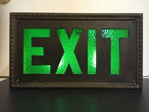 Vintage Art Deco Green Glass Lighted Exit Sign In Cast Metal