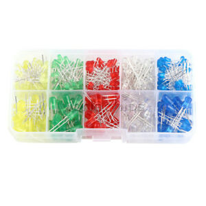 300pcs White Yellow Red Blue Green 3mm Round Led Light Assortment Diodes Kit