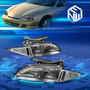 For 95 99 Chevy Cavalier Black Housing Clear Side Front Bumper Headlight lamps