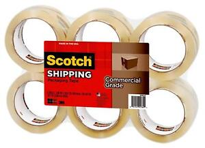 Scotch 3m Packing Tape 6 Rolls 1 88 X 54 6 Yards Shipping Mailing Sealing Boxes