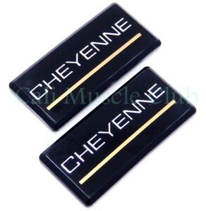 88 98 Chevrolet Cheyenne 2pc Roof Pillar Cab Emblem Badge Nameplate Oem Side New