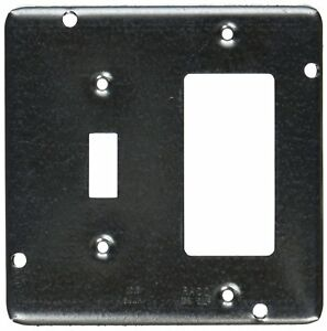 Hubbell raco 858 1 2 inch Raised Square Cover With 1 Gfci 1 Toggle Switch