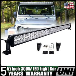 Cree 52inch 300w Led Work Light Bar Combo Offroad 4wd Suv Jeep Rzr Ford 50 52