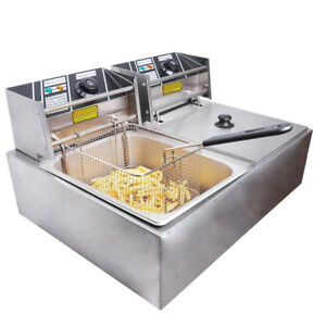 12 Liter Stainless Steel Dual Tank Commercial Countertop Deep Fryer Machine 110v