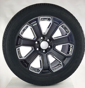 Chevy Silverado 22 Satin Black W Chrome Tahoe Suburban Wheels Goodyear Tires