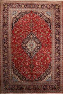 Excellent Condition Floral 10x14 Kashan Persian Oriental Area Rug 13 11 X 9 8