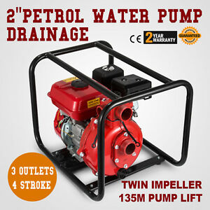 2 Petrol High Pressure Water Transfer Pump 4 Stroke Twin Impeller 8m Suction