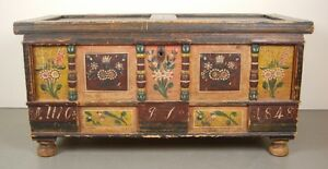 Antique 1848 German Painted Marriage Blanket Hope Chest Trunk