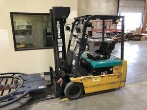 2 500 Lb Komatsu Fb18m Electric Fork Lift Battery Charger Triple Mast Side Shift
