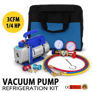 3cfm 1 4hp Air Vacuum Pump Hvac Refrigeration Ac Kit Manifold Gauge Set R134a