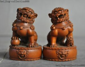 Old China Boxwood Wood Hand Carved Fengshui Foo Dog Guardian Beast Lion Statue