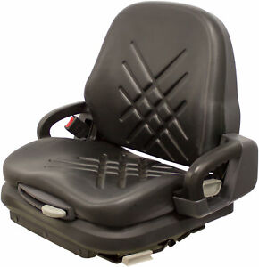 Universal Black Vinyl Forklift Suspension Seat Fits Doosan Etc