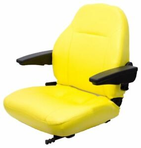 John Deere Yellow Vinyl Seat With Armrests For 5083e 5093 6110 6120 6200 6210etc