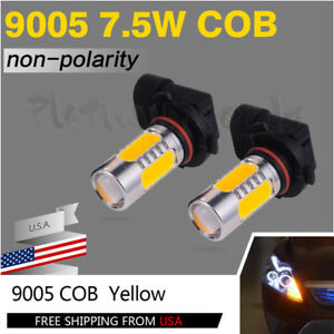 2pcs Led 9005 Hb3 7 5w Cob Amber Yellow Bulbs For Car Drl Daytime Runing Light