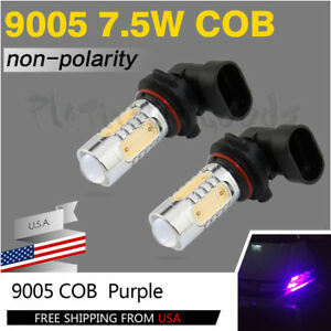 2pcs Purple 7 5w Cob 9005 Hb3 Led Bulbs Car Daytime Runing Light Drl Lamps 12v