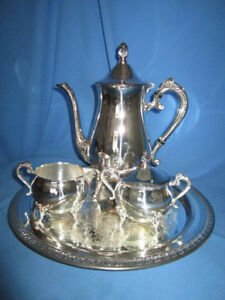 Leonard Silverplate Tea Or Coffee Service With Tray In Good Used Condition