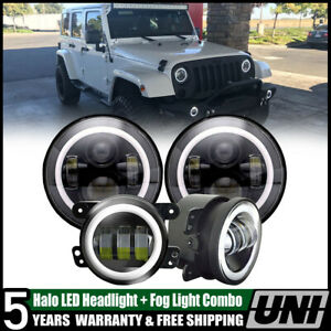 For Jeep Wrangler Jk Pair 7 Inch Led Headlight Pair Fog Lights Combo Kit