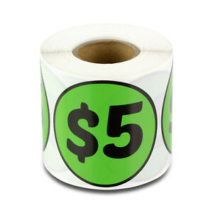 5 Dollars Stickers Garage Sale Yard Flea Market Retail Money Labels 10 Rolls
