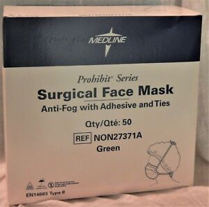 Medline Surgical Face Mask Anti fog W Adhesive Ties Non27371a 50 box Qty 6